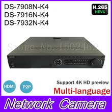 Hik 8 16 32CH 4K Network Video Recorder DS-79XXN-K4 Series Support 4 HDD Alarm I/O NVR for 6MP Security H265 IP Camera