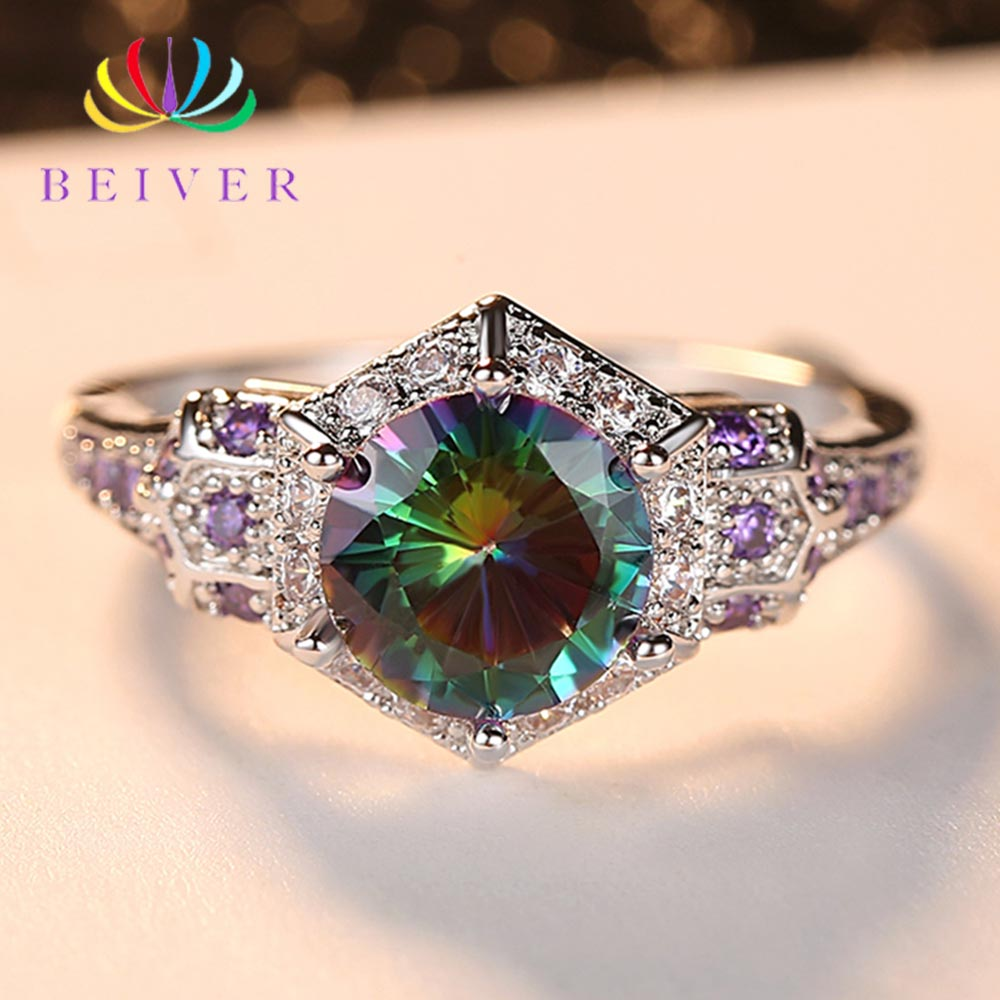 Beiver 2019 New Arrival White Gold Color Rainbow Round Zircon Promise Wedding Rings for Women Party Jewelry Ladies Gifts R568W-C