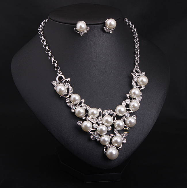 Cheap Pearl Necklace Sets: New Wholesale Luxury Full Simulated Pearl Jewelry Set