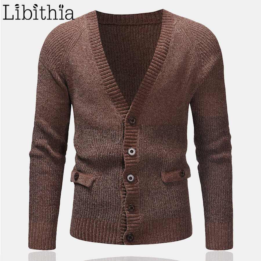 Men's Wool Sweaters Cardigan Patchwork Colors V-neck Polyester Thick Hombre Loose Clothing Male Dark Grey Black Brown T278
