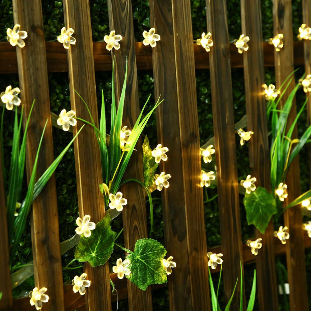 LED Solar String Light 22m 200 LEDS Peach Flower String Fairy Light Outdoor Garden Christmas Party Decoration Solar Lights