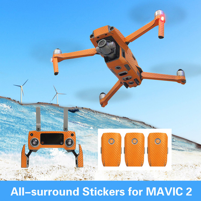 Optional All-surround Sticker Waterproof PVC Stickers Carbon Skin Decal for DJI MAVIC 2 PRO/ZOOM Drone Remote Controller Battery