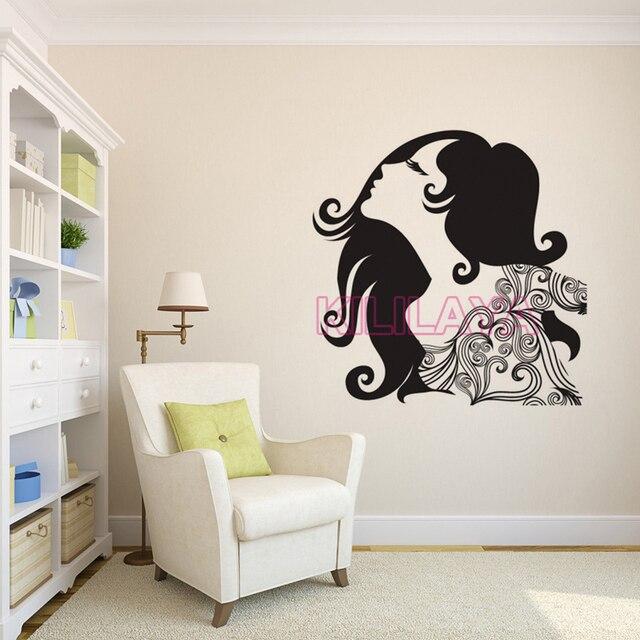 Stickers glamour beautiful women vinyl wall sticker decals mural wall art wallpaper for living for Beautiful wall stickers for living room
