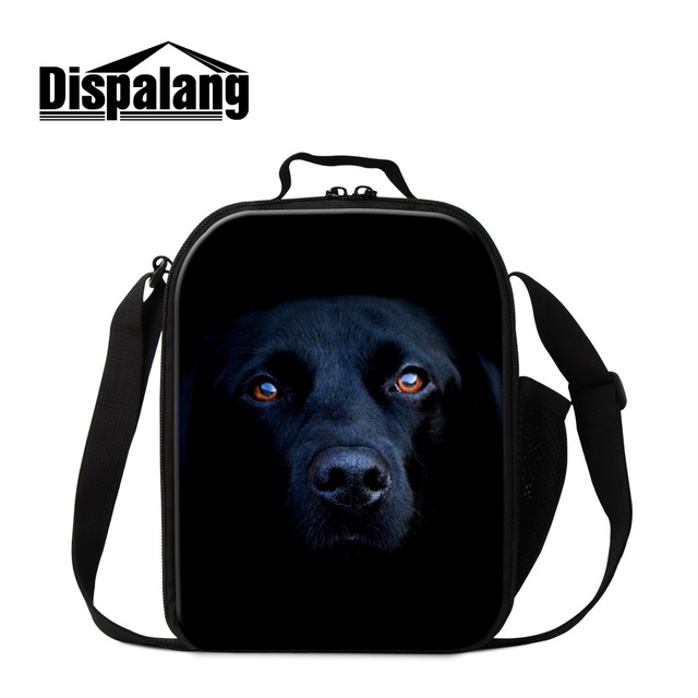 Dispalang personlaized black dog lunch cooler bag thermal adults lunch bags women insulated portable lunch box bag food storage
