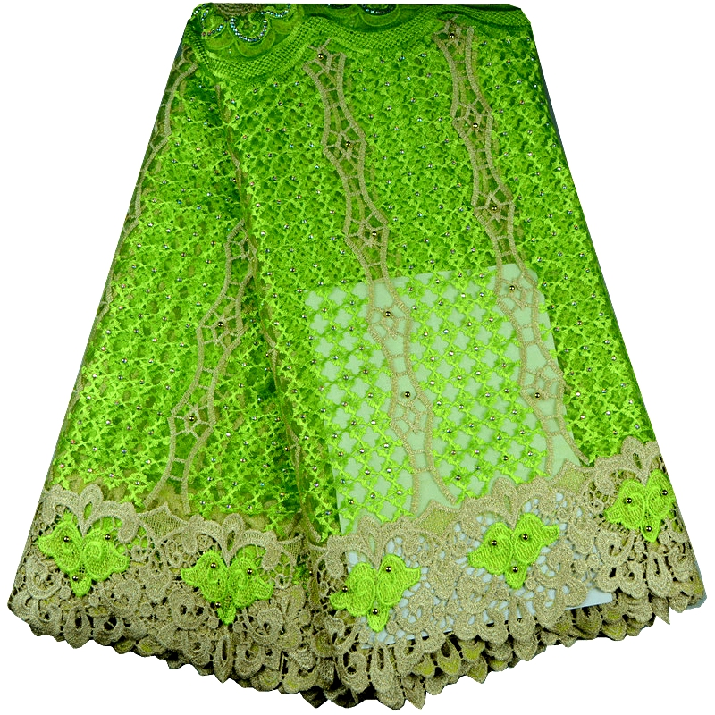 High Quality African Lace Fabric With Stones And Beaded For Wedding Mesh Lace Fabrics Lemon Green