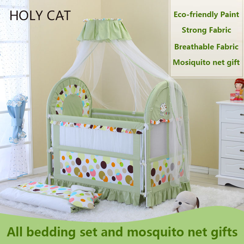 Holycat Multifunctional Environmental Protection Children Cradle Newborn Baby Bed With Mosquito Net