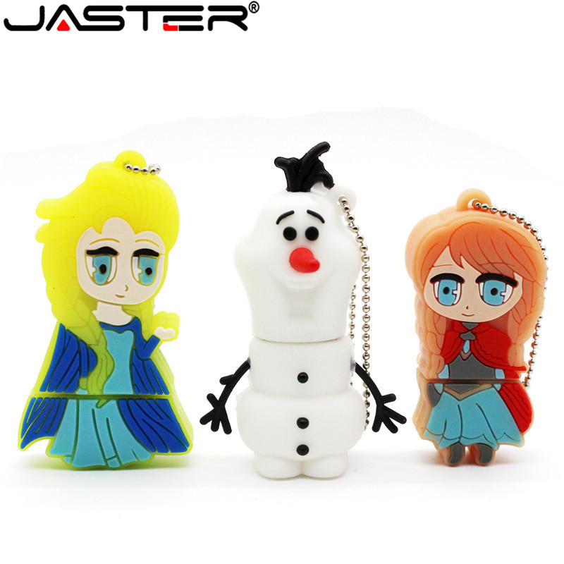 JASTER 100% Reali Capacity Beauty Princess Elsa Anna Olaf Pen Drive Memory Stick 4GB 16GB 32GB 64GB Usb Flash Drive Cartoon Gift