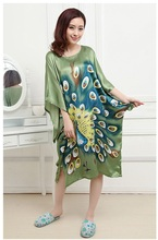 Traditional Chinese Gown Women Silk Satin Robe Lady Sleepwear One Size For S-3