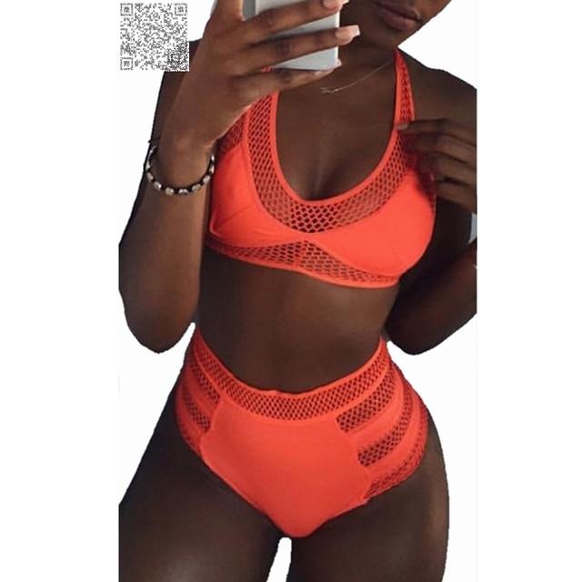 1c68b0639b971 2017 Solid Orange Halter High Waist Bikini Swimsuit Plus Size Bathing Suit  For Women Padded Swimwear Push Up Mesh Swimsuit