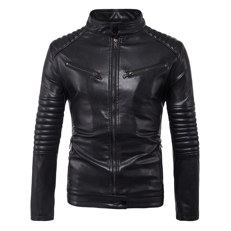 New Vintage Retro Motorcycle Jacket Men Slim Punk Classic Male Biker Motorsiklet PU Faux Leather Moto Jacket Coat Stand Collar