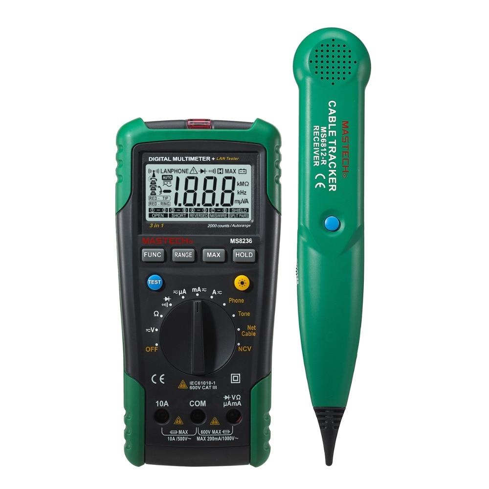 MASTECH MS8236 Autoranging Digital Multimeter With LAN/Tone/phone Tester 1 pcs mastech ms8269 digital auto ranging multimeter dmm test capacitance frequency worldwide store