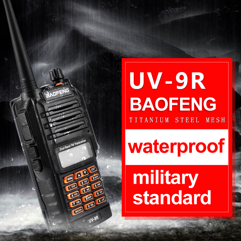 2018 New Baofeng UV-9R Palmare Walkie Talkie 8 w UV VHF Dual Band IP67 UV Impermeabile 9R A Due Vie radio Ricetrasmettitore del Interphone