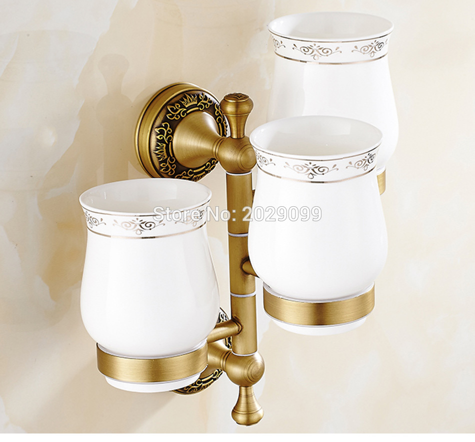 Yanjun Three Cup Holders Wall Mounted Toothbrush Cup Holder Bathroom Accessories Activities Cup Holder YJ-7963 yanjun double crystal cup tumbler holder brass wall mounted toothbrush cup holder bathroom accessories cup holder yj 8065