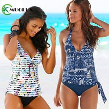 2020 Black Push Up Padded Bikini Brazilian Swimwear Women Beach Tankini 2 Piece Swimsuit Sport Plus Size Bathing Suit Skirts 4XL