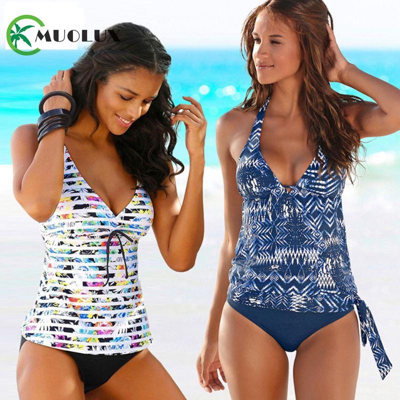 2020 Black Push Up Padded Bikini Brazilian Swimwear Women Beach Tankini 2 Piece Swimsuit Sport Plus Size Bathing Suit Skirts 4XL