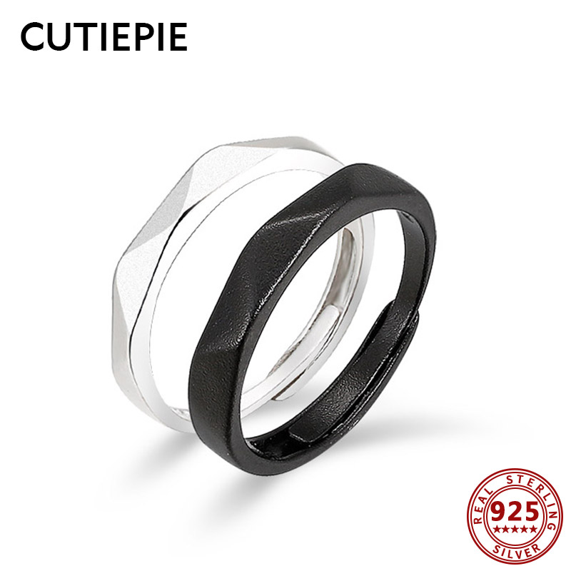Cutiepie Easy 100% Actual 925 Sterling Silver Clear Geometric Couple Rings For Lovers Adjustable Finger Rings Marriage ceremony Jewellery