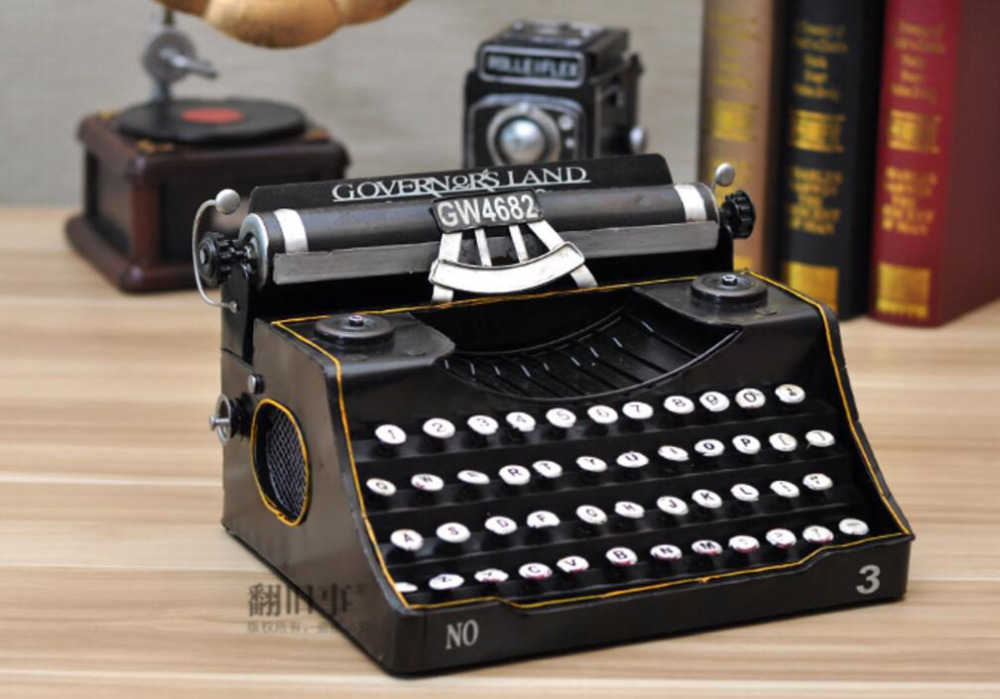 vintage retro classic Distressed movie prop antique typewriter hand made craft model for home coffee bar