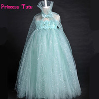 Elsa Dress Sparkling Snow Queen Elsa Princess Girl Party Tutu Dress Cosplay Anna Elsa Costume Flower