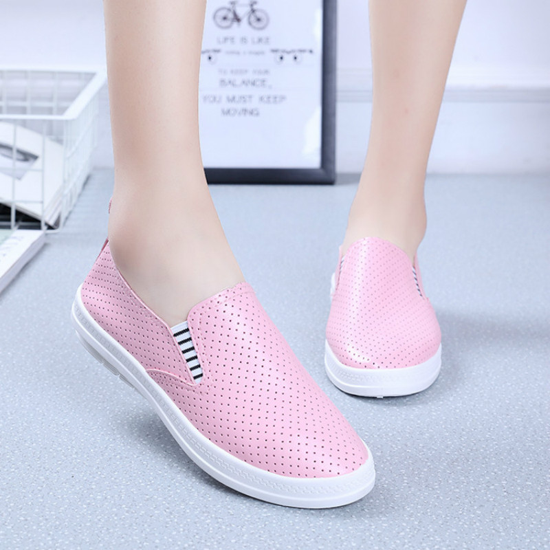 Women Fashion Leather Flats Lady New Breathable White Shoes Women's Casual Footwear women s shoes 2017 summer new fashion footwear women s air network flat shoes breathable comfortable casual shoes jdt103