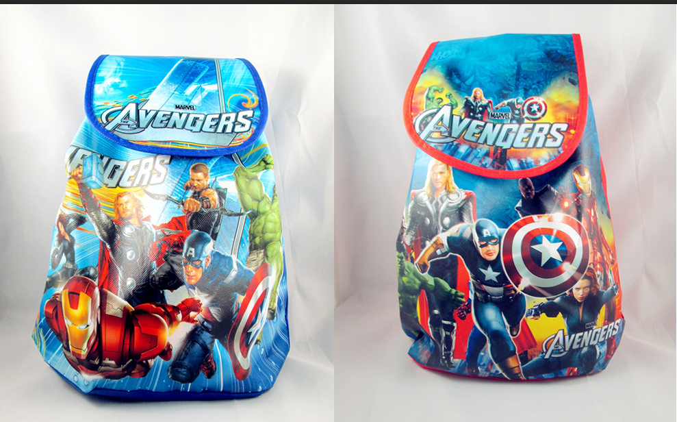 6Pcs The Avengers Iron Man Cartoon Kids Drawstring Printed Backpack Shopping School Trav ...