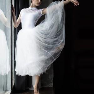 Image 1 - プロ大人バレリーナバレエチュチュ白黒ピンク赤メッシュレースロングチュチュドレス弾性ウエストチュールスカート女性ボールスカート
