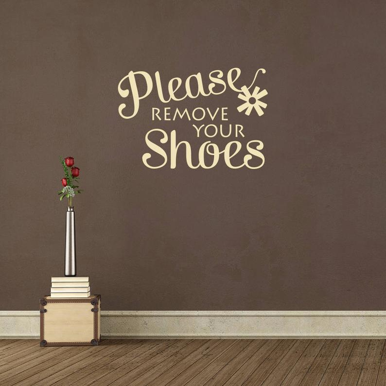Please remove your shoes Quote Wall Sticker Entryway Wall Sayings Murals Removable Foyer Front Door Vinyl Decal Decor AZ908
