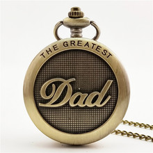 Father's Day Vintage Chain Retro Pocket Watch Necklace For Grandpa Dad Gifts Casual Classical Memorial Watches Male clock