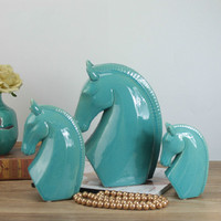 Blue Ceramic Horse Head Ornaments European Model Bookshelf Wine Cabinet Animal Ornaments Ornaments