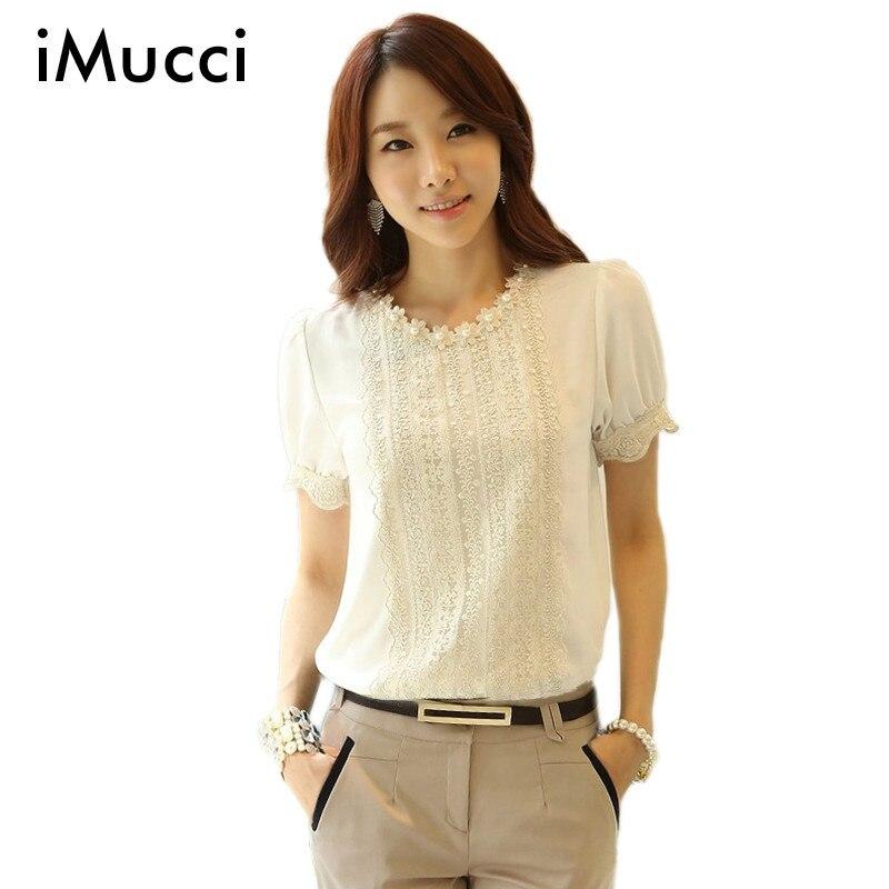Imucci blanco de encaje princesa puff manga camisas blusas femininas tapas para