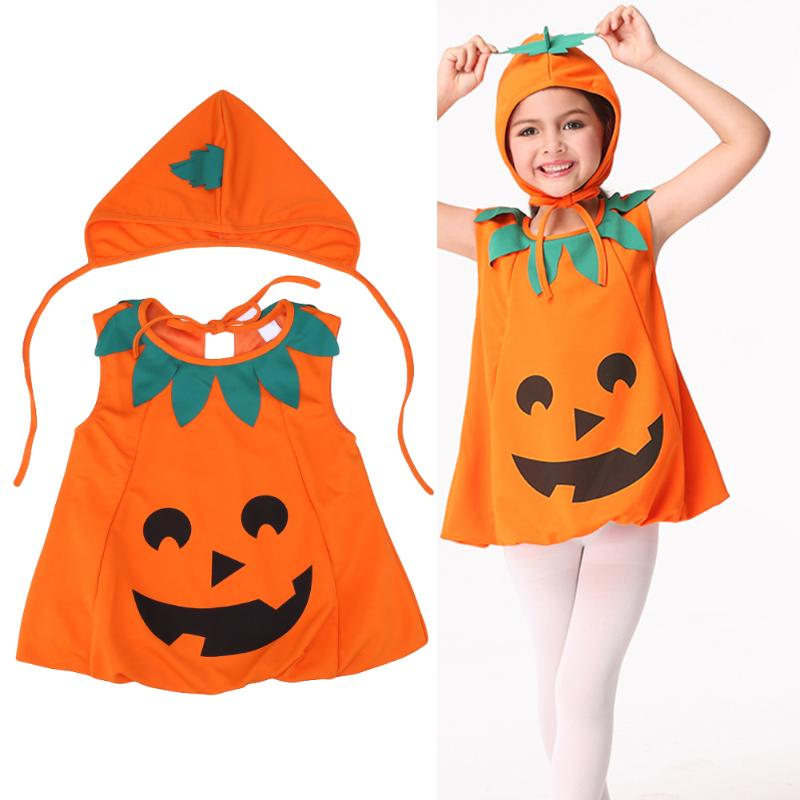 2017 Cute Halloween Clothes Set Infant Baby Girls Dress+Hat Kids Costume  Pumpkin Outfit Clothing Cosplay цены онлайн