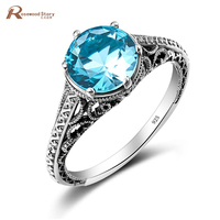 Groothandel Oostenrijkse Crystal Ringen met Hemelsblauw Stone Solid 925 Sterling Zilver Vrouwen Engagement Wedding Band Ring Bridal Set