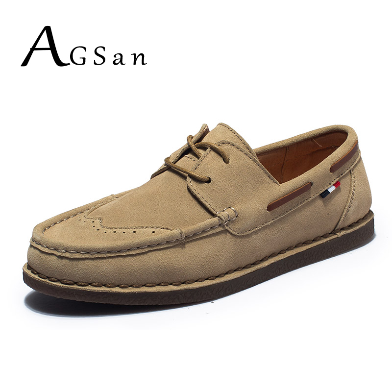 AGSan Men Luxury Brand Boat Shoes Genuine Leather Men Casual Shoes Spring Brogue Shoes Classic England Style Zapatos Hombre new fashion men luxury brand casual shoes men non slip breathable genuine leather casual shoes ankle boots zapatos hombre 3s88