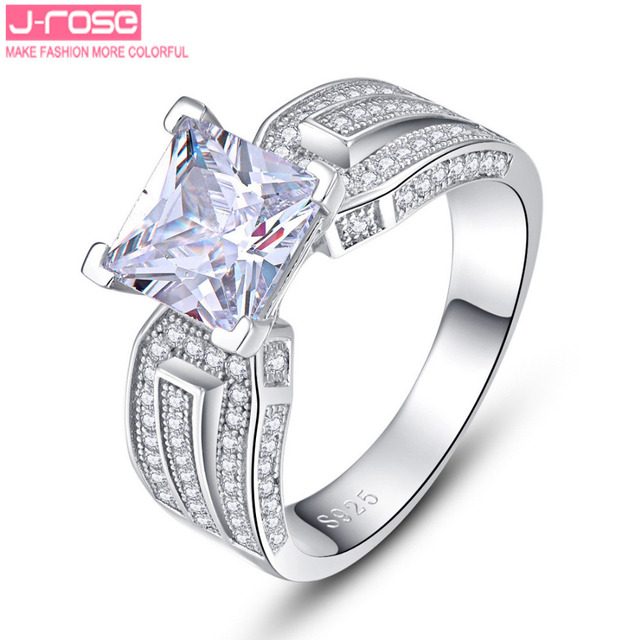 Jrose New 100% 925 Sterling Silver Wedding Rings Genuine Jewelry Real Solid Silver Ring 3.5Ct White Gem For Women With box