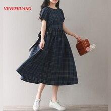 b100a50efe3729 Vintage Sommer Frauen Kleidung Baumwolle Leinen Beiläufige Lose Vestidos  Longo Kurzarm Plaid Mori Mädchen Stil Kleid