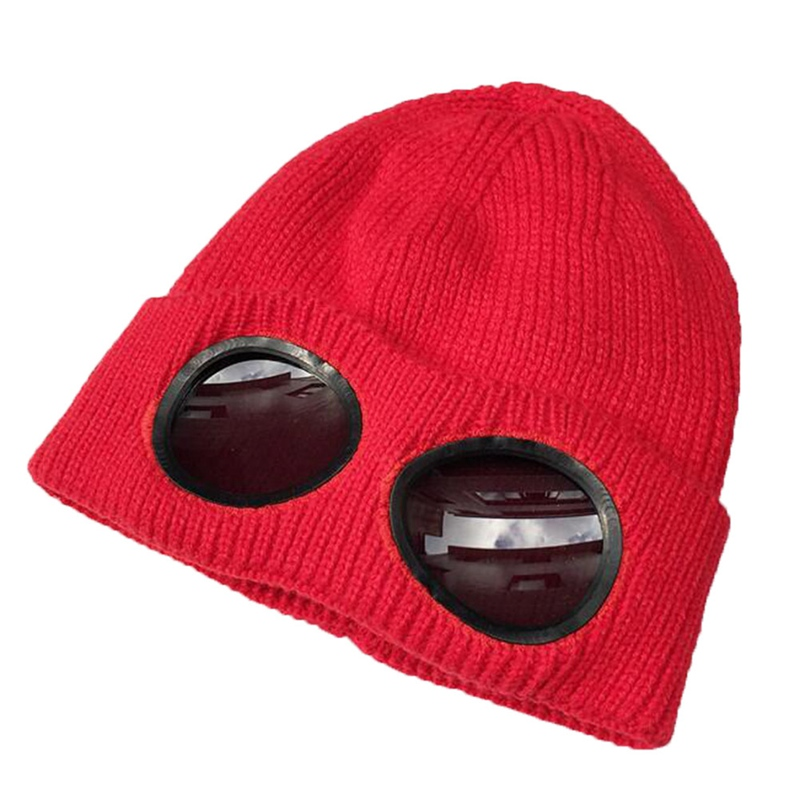 2019 New Fashion  Double-use Thickened Winter Knitted Hat Warm Skullies Ski Cap with Glasses for Men Women