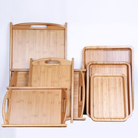 Rectangle Bamboo Serving Tray Multi Use Eco Storage Plates With Handle For Fruit Food Tea Bread