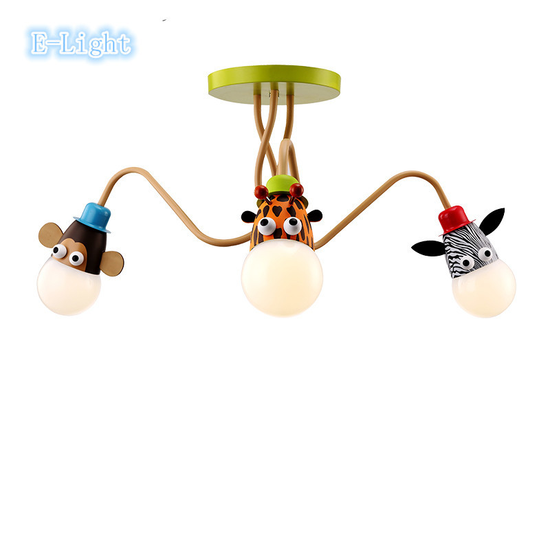 ФОТО Kid's Room Lighting Modern 3heads Animal Pendant Lights Child Bedroom Lamp E27 LED For Living Room CEILING Home Decoration