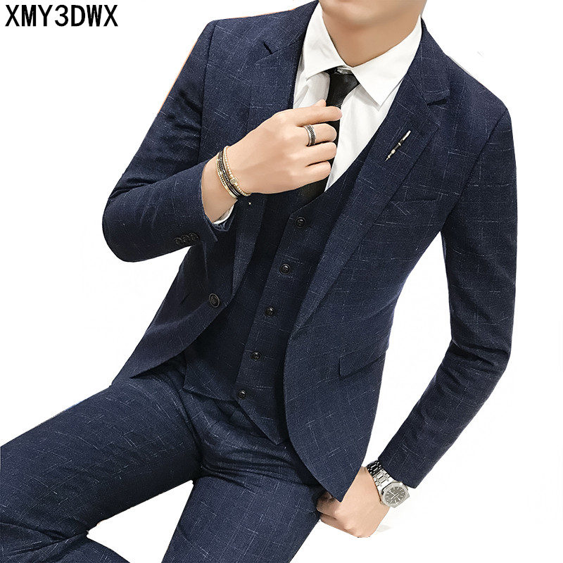 New 2018 brand men suit wedding slim fit business casual party groom grey blue plaid men suits dress (jacket+pants+vest)