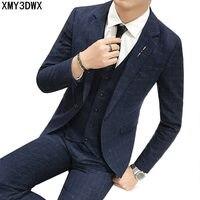 New 2018 brand men suit wedding slim fit business casual party groom grey blue plaid men suits dress (jacket+pants+vest)