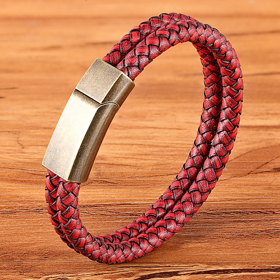 XQNI Vintage Red Genuine Leather Men Women Series Luxurious Jewelry Double Layer Charm Bracelet Magnetic Buckle Accessories Part