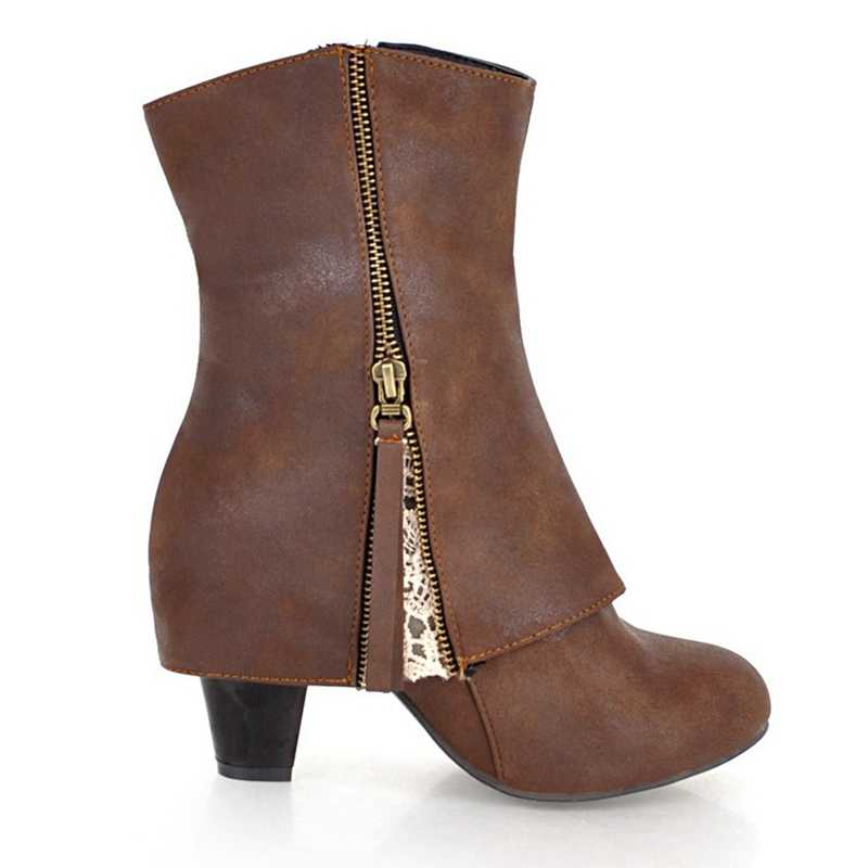 REAVE KEDI Artı boyutu 34-43 Ilkbahar Sonbahar Pu Deri Kısa Peluş Kare topuk Kadın yarım çizmeler kadın ayakkabısı Fermuar mujer a1292