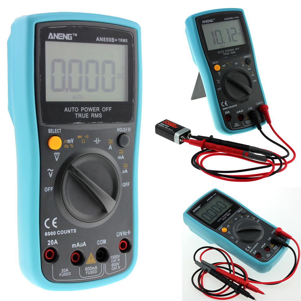 AN850B+ 6000 counts LCD Digital Multimeter DMM with NCV Detector DC AC Voltage Current Meter Resistance Diode Capaticance Tester  bside adm04 lcd digital multimeter mini pocket 2000 counts dmm dc ac voltage current meter diode tester auto ranging multimetro