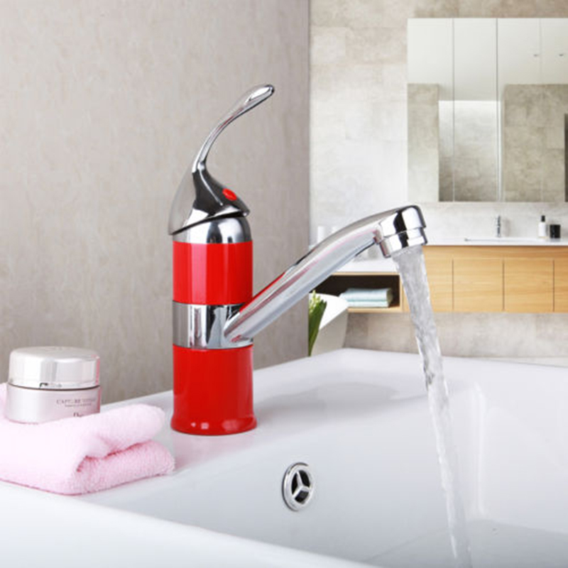 Red Bathroom Basin Sink Unique Design Single Handle Chrome Basin Sink Water Vessel Lavatory Tap Hot & Cold Water Mixer Faucet xueqin free shipping unique design chrome finished kitchen basin sink water faucet mixer tap single handle cold bathroom faucet