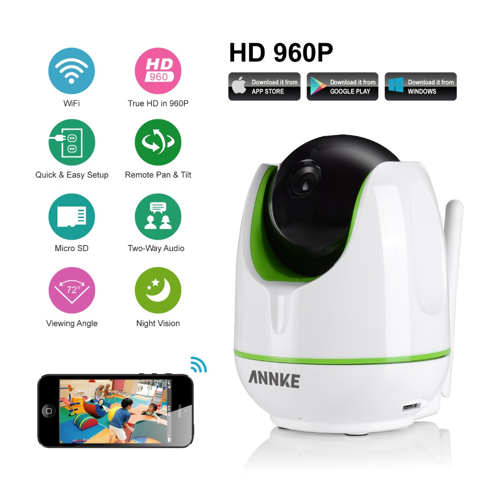 ANNKE HD Wireless IP Camera Wifi 960P Smart IR-Cut Night Vision P2P Baby Monitor Surveillance Onvif Network CCTV Security Camera mini hd wireless ip camera wifi 720p smart ir cut night vision p2p baby monitor surveillance onvif network cctv security camera