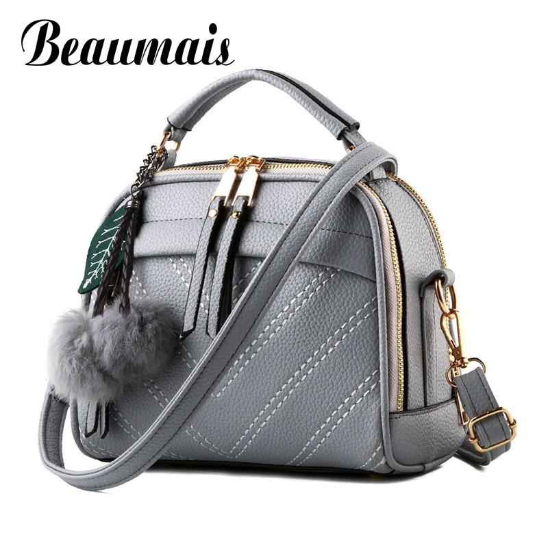 Beaumais Hot Sale Pu Leather Women Leather Handbag Hairball Women Messenger Bags