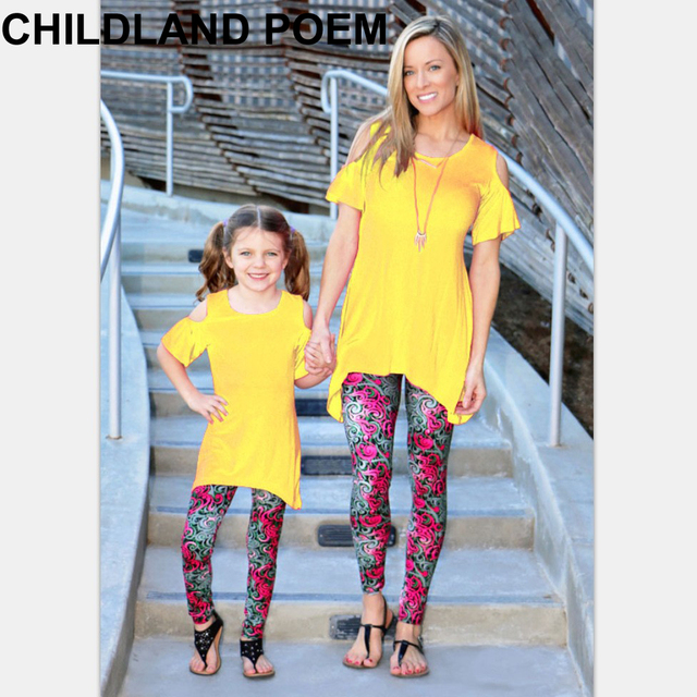 2016 summer mother and daughter clothes fashion family look T-shirt  ruffle family matching clothes mom and daughter dress