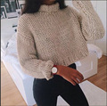 2017 Brand New Autumn Fashion Women Solid High Collar Short Sweaters Long Sleeve Loose Pullover Knitted Sweaters