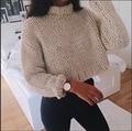 2017 Nuevo Otoño de La Manera Mujeres Sólido Cuello Alto Corto Manga Larga Suelta Pullover Sweaters tejidos