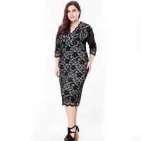 autumn Elegant black lace print slim plus size dress women Vestidos large size dress Office Lady evening party Big Size dresses