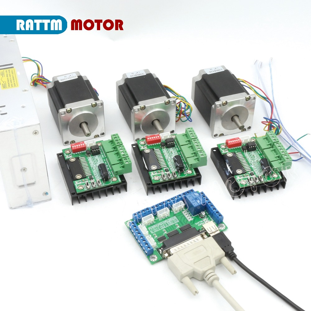 все цены на RUS/ EU Delivery!! 3 Axis controller Kit Nema23 270 Oz-in CNC stepper motor (Dual shaft) 3A 76mm & Motor Driver for CNC Router